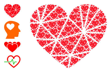 Vector polygonal love heart composition is composed of randomized self polygonal love heart icons. Recursion mosaic of polygonal love heart. Some other icons are present in this vector.