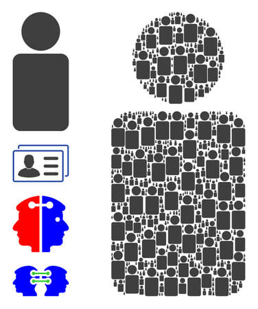 Vector man collage is designed of random recursive man pictograms. Recursive composition of man. Some other icons are present in this vector.