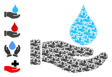 Vector water offer hand composition is composed of random recursive water offer hand icons. Recursive mosaic of water offer hand. Some other icons are present in this vector. 일러스트