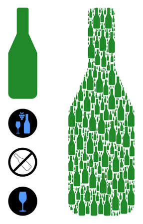Vector wine bottle mosaic is organized of randomized recursive wine bottle elements. Recursive mosaic for wine bottle. Some other icons are present in this vector.