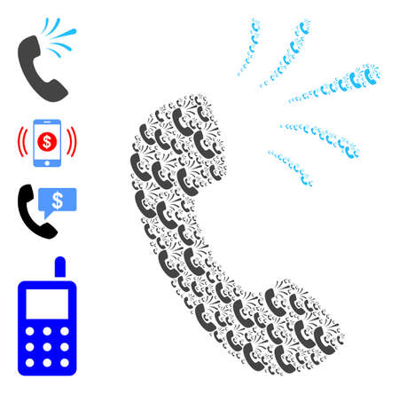 Vector phone signal collage is formed from randomized self phone signal icons. Recursive collage from phone signal. Some other icons are present in this vector. 일러스트