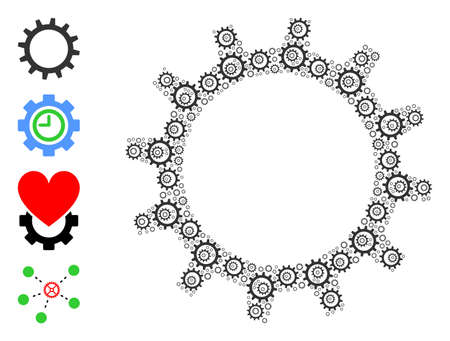 Vector gear composition is created from repeating recursive gear icons. Recursive composition of gear. Some other icons are present in this vector.