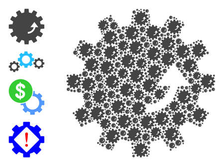 Vector gear rotation collage is done of scattered self gear rotation icons. Recursive mosaic of gear rotation. Some other icons are present in this vector. 일러스트
