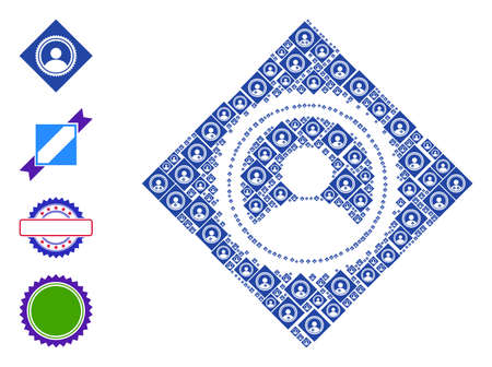 Vector rhombus user seal stamp mosaic is constructed from random recursive rhombus user seal stamp elements. Fractal mosaic for rhombus user seal stamp. Some other icons are present in this vector.