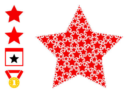 Vector red star composition is made with random recursive red star icons. Recursive composition of red star. Some other icons are present in this vector. 일러스트