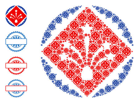 Vector rhombus fireworks stamp seal collage is done with random self rhombus fireworks stamp seal icons. Fractal collage for rhombus fireworks stamp seal. Some other icons are present in this vector. 일러스트