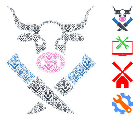 Vector cow butchery mosaic is made of randomized recursive cow butchery items. Recursive combination of cow butchery. Some other icons are present in this vector.