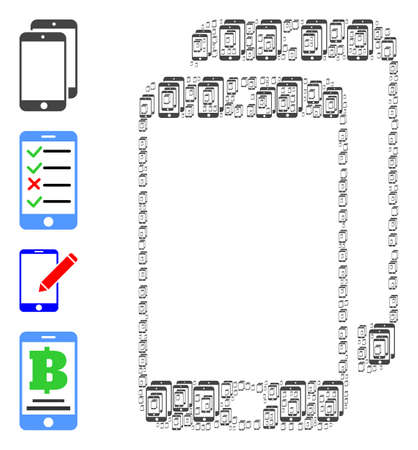 Vector smartphones composition is designed with randomized recursive smartphones icons. Recursive collage of smartphones. Some other icons are present in this vector. 일러스트