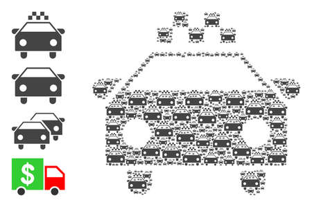 Vector taxi car mosaic is composed of random self taxi car pictograms. Recursive mosaic of taxi car. Some other icons are present in this vector.