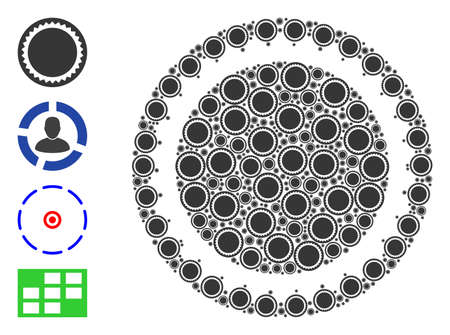 Vector round seal template mosaic is made of scattered recursive round seal template elements. Recursive mosaic for round seal template. Some other icons are present in this vector.