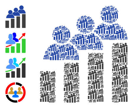 Vector people bar chart collage is done of random recursive people bar chart elements. Recursive collage for people bar chart. Some other icons are present in this vector.