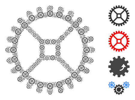 Vector clock gear composition is composed with randomized recursive clock gear icons. Recursive mosaic from clock gear. Some other icons are present in this vector.