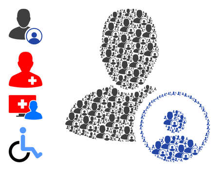 Vector psychologist collage is composed of repeating self psychologist parts. Recursion collage of psychologist. Some other icons are present in this vector.