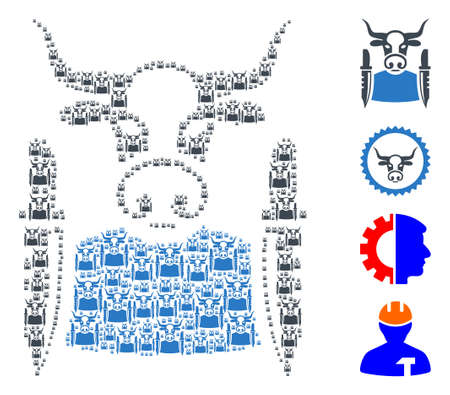 Vector cow butcher collage is created of random recursive cow butcher icons. Recursive combination of cow butcher. Some other icons are present in this vector.