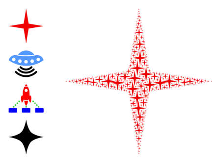 Vector space star collage is formed from scattered recursive space star parts. Recursive combination of space star. Some other icons are present in this vector. 矢量图像