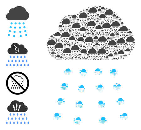 Vector rain cloud mosaic is formed from random recursive rain cloud parts. Recursion collage from rain cloud. Some other icons are present in this vector. 矢量图像