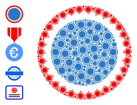 Vector round seal stamp collage is made from randomized recursive round seal stamp items. Recursive combination from round seal stamp. Some other icons are present in this vector.