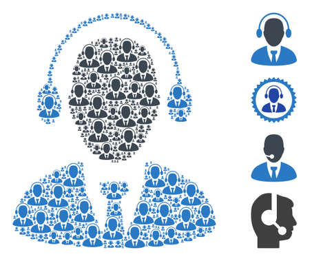 Vector call center agent composition is designed with scattered recursive call center agent icons. Recursive composition from call center agent. Some other icons are present in this vector.