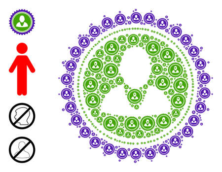 Vector user stamp seal composition is designed of repeating recursive user stamp seal icons. Fractal composition of user stamp seal. Some other icons are present in this vector. 矢量图像