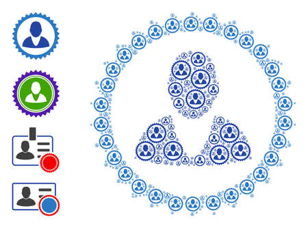 Vector man stamp collage is composed of scattered self man stamp icons. Recursive combination for man stamp. Some other icons are present in this vector.