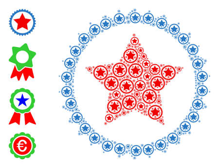 Vector star seal stamp collage is made with random self star seal stamp icons. Recursion collage for star seal stamp. Some other icons are present in this vector.