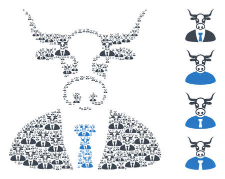 Vector bull boss mosaic is designed with scattered recursive bull boss items. Recursive composition from bull boss. Some other icons are present in this vector. 矢量图像