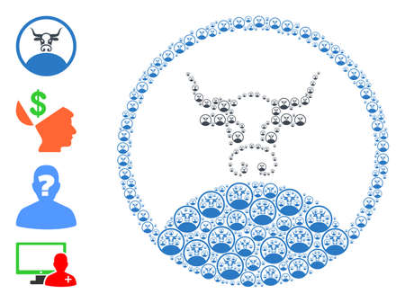 Vector rounded bull boss mosaic is done with scattered self rounded bull boss icons. Recursion composition from rounded bull boss. Some other icons are present in this vector.