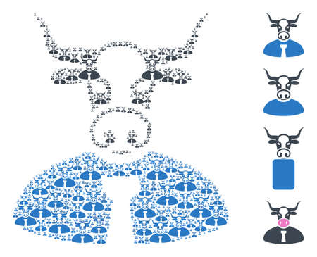 Vector bull chief composition is designed from random recursive bull chief elements. Recursive composition from bull chief. Some other icons are present in this vector. 矢量图像