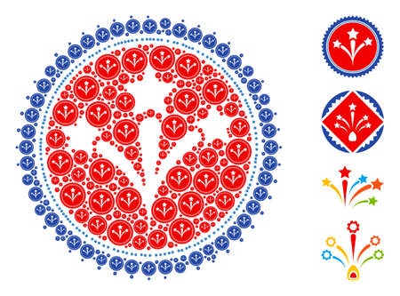 Vector fireworks seal stamp composition is designed with scattered recursive fireworks seal stamp icons. Fractal composition from fireworks seal stamp. Some other icons are present in this vector.