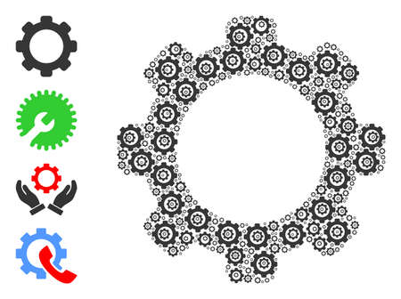 Vector gear mosaic is designed of random recursive gear icons. Fractal collage of gear. Some other icons are present in this vector.