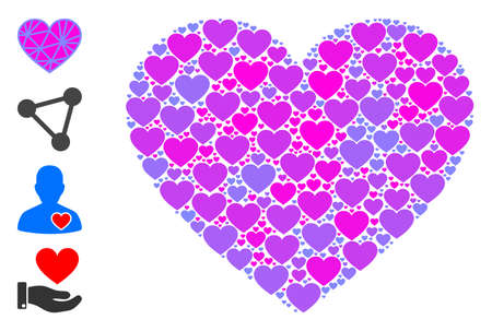 Vector mesh pink heart composition is constructed of repeating recursive mesh pink heart icons. Recursive collage for mesh pink heart. Some other icons are present in this vector.