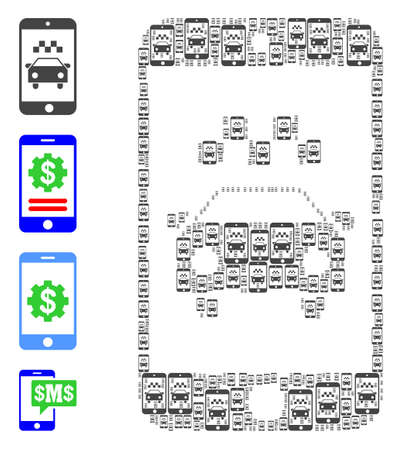 Vector taxi smartphone application composition is constructed from random recursive taxi smartphone application icons. Recursion mosaic from taxi smartphone application.