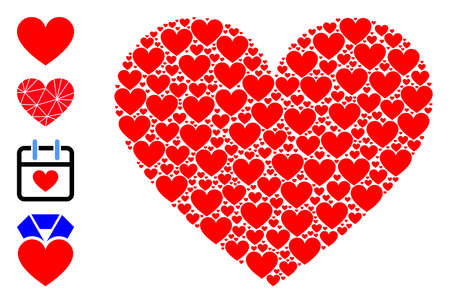 Vector love heart collage is created from repeating self love heart pictograms. Recursion composition from love heart. Some other icons are present in this vector. Stock Illustratie