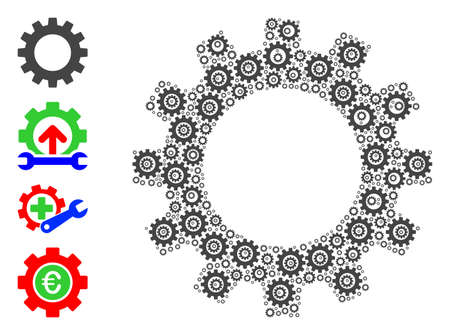 Vector gearwheel collage is done from random self gearwheel items. Recursion collage from gearwheel. Some other icons are present in this vector.
