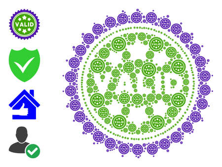 Vector valid stamp collage is created of scattered recursive valid stamp icons. Recursion composition of valid stamp. Some other icons are present in this vector.