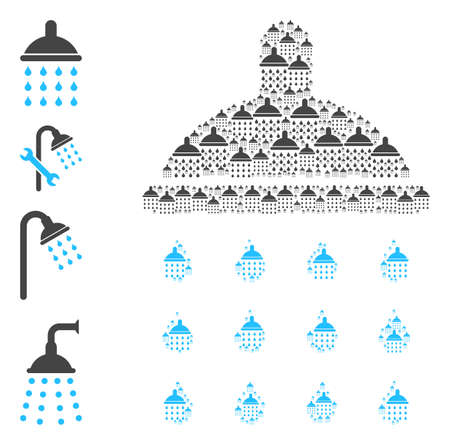 Vector shower drops composition is made with repeating recursive shower drops elements. Recursive composition of shower drops. Some other icons are present in this vector. Stock Illustratie