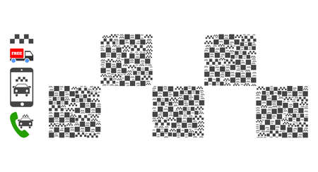Vector taxi chess logo mosaic is designed with repeating recursive taxi chess logo icons. Fractal mosaic from taxi chess logo. Some other icons are present in this vector.