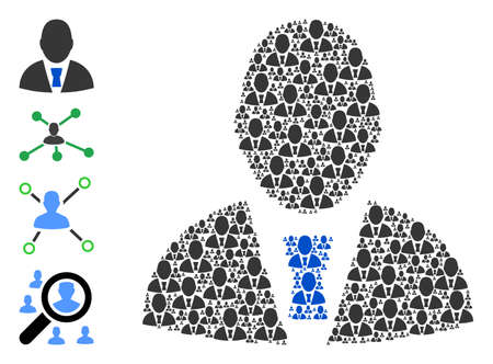 Vector manager profile collage is composed from scattered self manager profile icons. Recursive collage for manager profile. Some other icons are present in this vector.