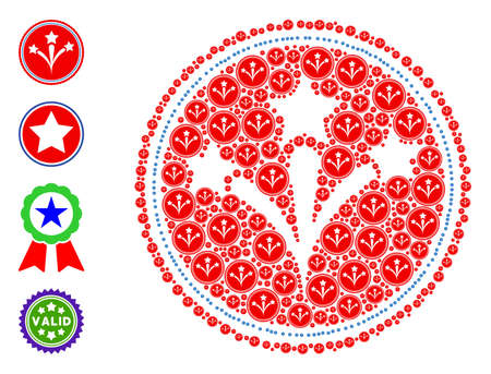 Vector pyrotechnics seal stamp mosaic is constructed with randomized self pyrotechnics seal stamp elements. Recursion mosaic from pyrotechnics seal stamp. Some other icons are present in this vector.