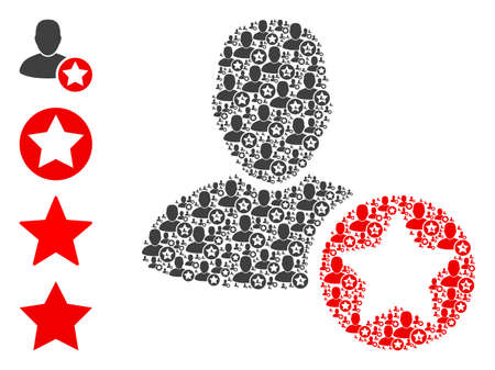 Vector star favourites person mosaic is designed with repeating recursive star favourites person icons. Fractal mosaic of star favourites person. Some other icons are present in this vector. 免版税图像 - 154989781