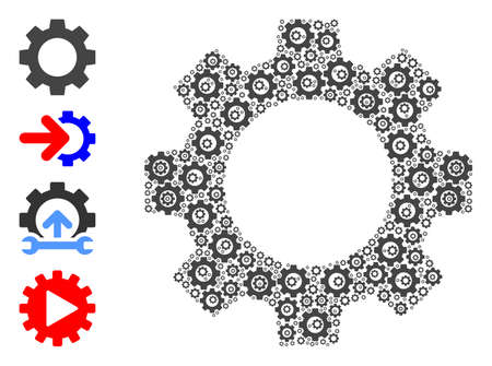 Vector gear composition is done from randomized recursive gear parts. Recursive combination from gear. Some other icons are present in this vector. Stock Illustratie