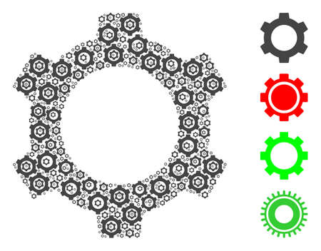 Vector cog composition is composed of randomized recursive cog parts. Recursion mosaic of cog. Some other icons are present in this vector.