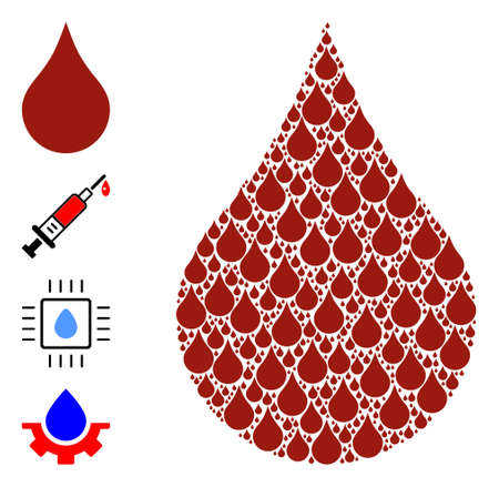 Vector red blood drop composition is designed from scattered self red blood drop icons. Recursive mosaic for red blood drop. Some other icons are present in this vector.
