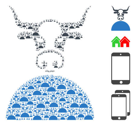 Vector cow composition is composed from scattered self cow icons. Fractal composition of cow. Some other icons are present in this vector.