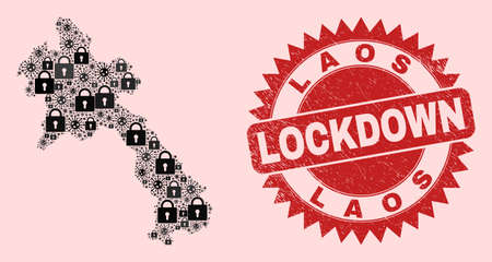 Vector Covid-2019 lockdown combination Laos map and rubber stamp print. Lockdown red imprint uses sharp rosette form. Collage Laos map is made with Covid-2019, and locked items. Ilustração
