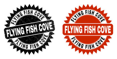 Black rosette FLYING FISH COVE seal stamp. Flat vector scratched seal stamp with FLYING FISH COVE caption inside sharp rosette, and original clean version. Imprint with distress style.