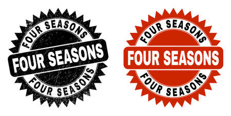 Black rosette FOUR SEASONS seal stamp. Flat vector grunge seal stamp with FOUR SEASONS message inside sharp rosette, and original clean version. Watermark with corroded texture. Ilustracja