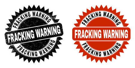 Black rosette FRACKING WARNING stamp. Flat vector grunge watermark with FRACKING WARNING phrase inside sharp rosette, and original clean source. Watermark with distress style.