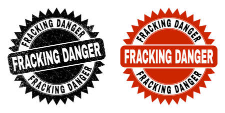 Black rosette FRACKING DANGER watermark. Flat vector grunge seal stamp with FRACKING DANGER caption inside sharp rosette, and original clean source. Watermark with grunge texture.