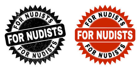 Black rosette FOR NUDISTS stamp. Flat vector grunge stamp with FOR NUDISTS caption inside sharp rosette, and original clean version. Imprint with distress surface.